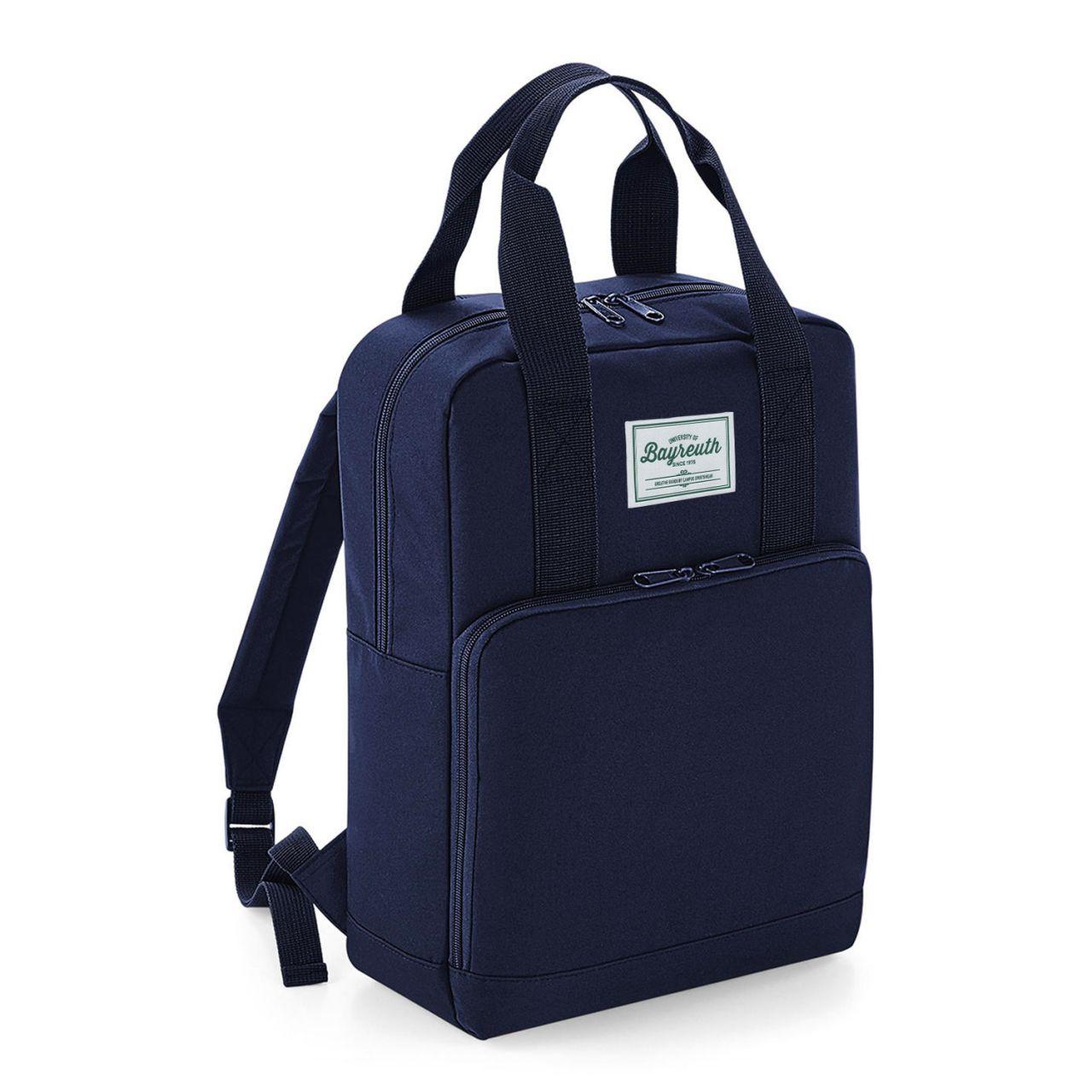 Backpack, navy, label