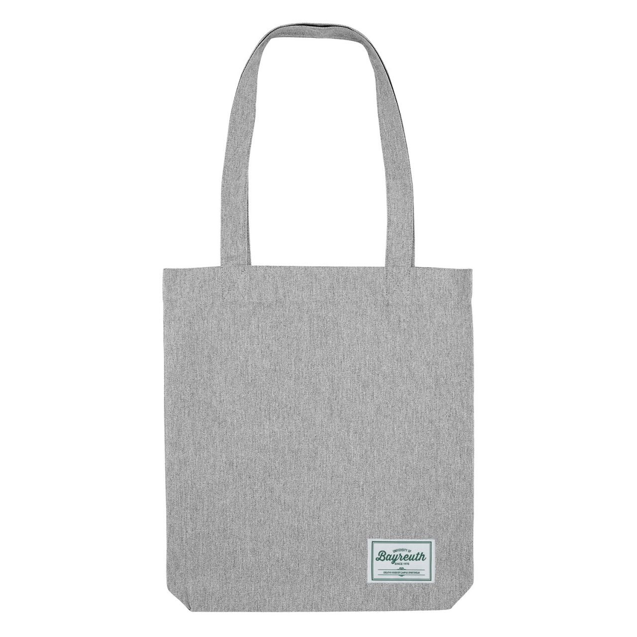 Organic Tote Bag, heather grey, label