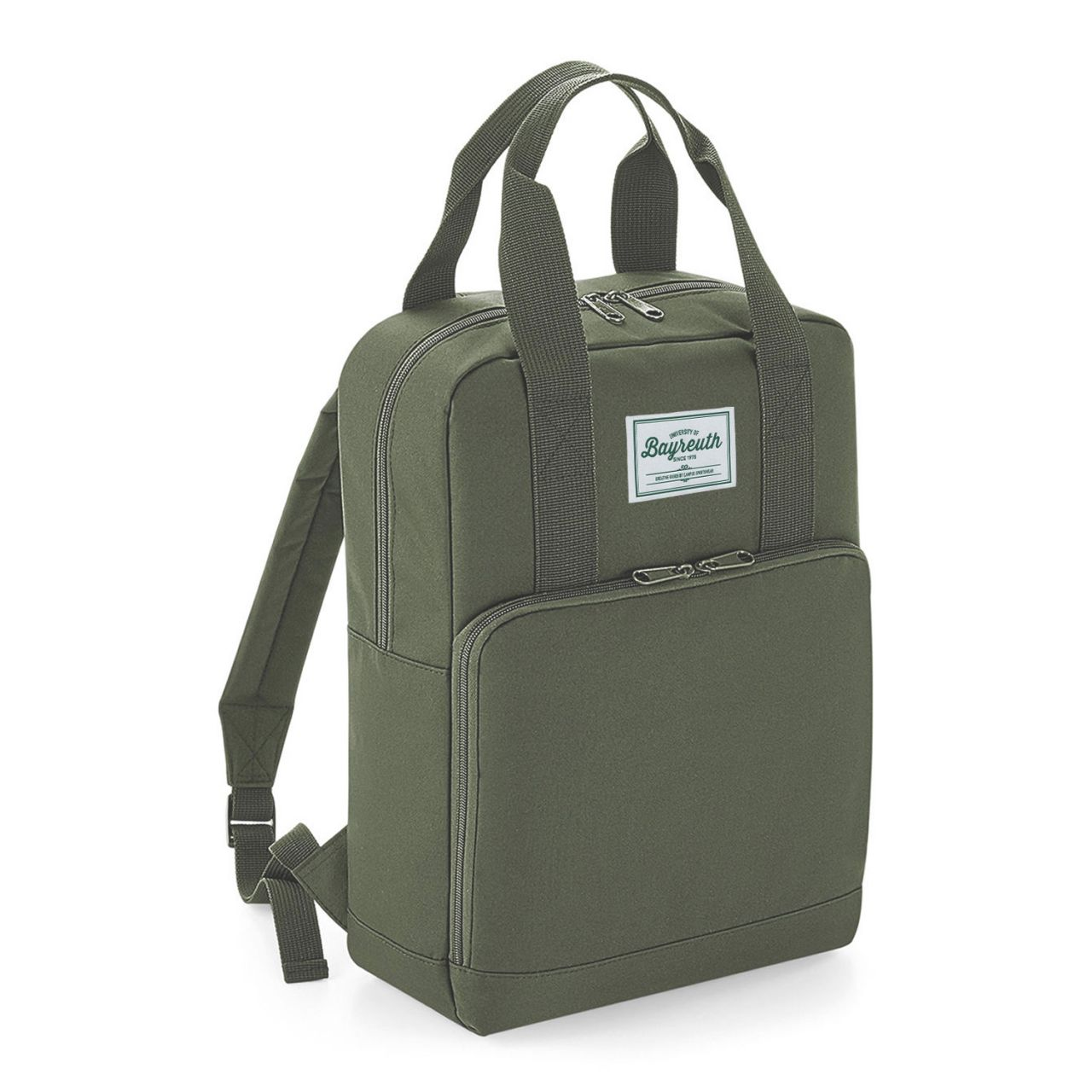 Backpack, green, label